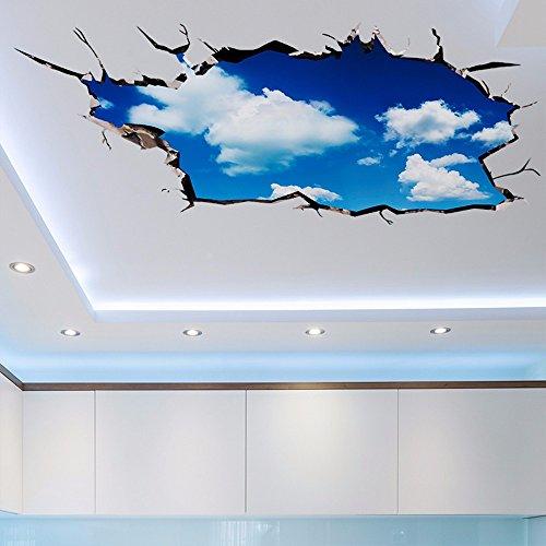 3D Stereo Wall Sticker Wohnzimmer decke Dach Dach Klassenzimmer Tapeten Dekoration blue sky white Sky