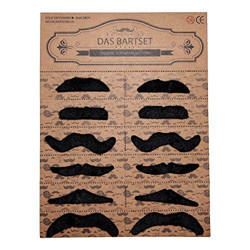 WeAreAwesome Schnurrbart Set B 12 Stück Bart Mix schwarz gemischt zum Ankleben Klebebärte falsche (Und Bärte Schnurrbärte Fake)
