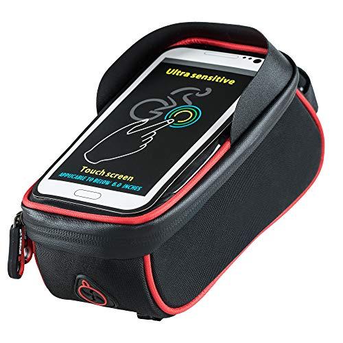 Mitef Fahrrad-Zubehör, Frontrahmen, Wasserdichte Tasche mit TPU-Touchscreen, Top-Tube, Handy-Tasche für Handys unter 15,2 cm (6 Zoll), Unisex, schwarz/rot, 6.0 inch - Top-touchscreen-handys