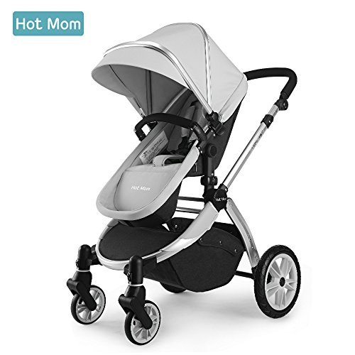 Hot Mom Multikinderwagen 2 in 1 mit Buggy 2020 neues Design - Grau