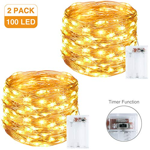 Litogo Guirnalda Luces Pilas, Luces LED Pilas [2 Pack], LED luces decorativas habitacion 10m 100 LED...
