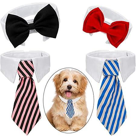 4 Stücke Haustier Fliege Einstellbare Haustier Krawatte Kostüm Formale Hundehalsband für Kleine Hunde und Katzen…