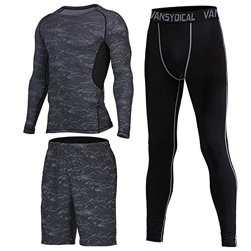 [ShowTime] Herren Fitness Anzug Set, Yoga, Laufen, Joggen, Gym Fitness Outfit Workout Sweatsuit Activewear (M, C- 3 Pieces) (Herren Short T-shirt Element)