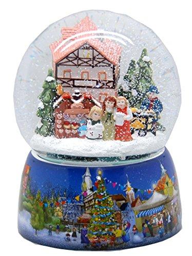 20065 Mega boule à neige Marché de Noël porcelaine socle 150 mm diamètre snowmotion et musique boîte à musique