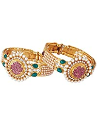 Zeneme Designer Antique Gold Plated Bangle/Kada Set Jewellery For Women / Girls