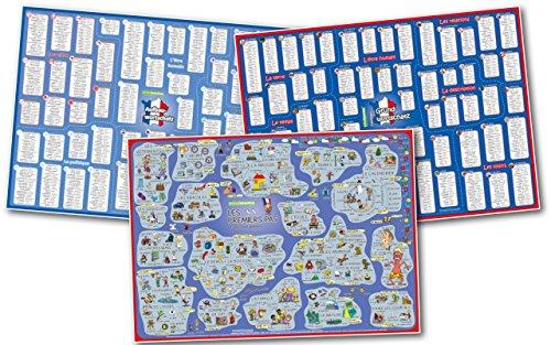 mindmemo Lernposter 3er Set - FRANZÖSISCH Vokabeln - LES PREMIERS PAS (Einsteiger)| Grundwortschatz | Aufbauwortschatz - Lernübersicht - DinA1 Sonderauflage - gefaltet