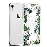 Eouine Coque iPhone XR, Etui en Silicone 3D Transparente avec Motif Peinture Design [Anti Choc] Housse de Protection Case Coque pour Téléphone Apple iPhone XR 2018-6,1 Pouces (Feuilles et Fleurs)