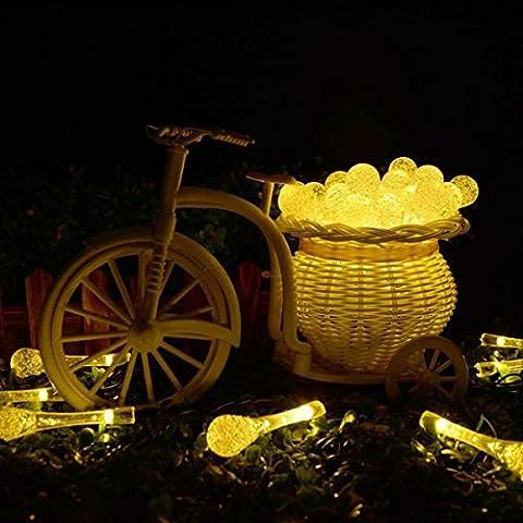 LightsGoal LED Weihnachts Licht, Solar Lichtschnur 6M / 19,7ft Draussen Fee Beleuchtung, Kristall Ball Dekorationen Ambiente String Lichter, für Garten Zaun Pfad Landschaft (warmweiß)