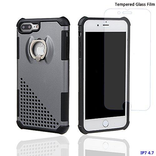 """xhorizon MW8 Drehend Metallring Kickstand Doppelschichtkasten Hybrid Hochleistung Stoßfester Absorption Schützend Case für iPhone 7 [4.7""""] - Rose Gold Grau Mit einem 9H gehärtet Glasfilm"""
