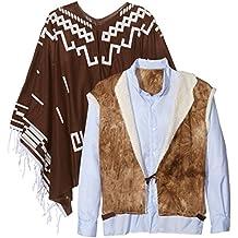 Smiffys Auténtico Wandering occidental Pistolero vestuario con Poncho Chaleco con la falsa Camisa y Neckscarf