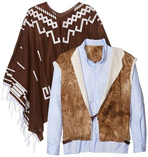 Preisvergleich Produktbild Smiffys Authentische Western Kollektion Umherstreifender Räuber Kostüm mit Poncho Weste mit Hemdattrappe und Halstuch, Large