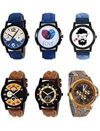 NEUTRON Classical 3D Design Love Beard Style Black Blue And Brown Color 6 Watch Combo (B10-B11-B12-B13-B14-B76...