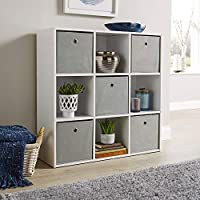 Home Source Storage Cube 9 Shelf Bookcase Wooden Display Unit Organiser White Furniture