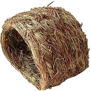 Insun Handwerk Pet Hütte Versteck Haus Woven Gras Bett für Kaninchen echtes 30x45x22cm