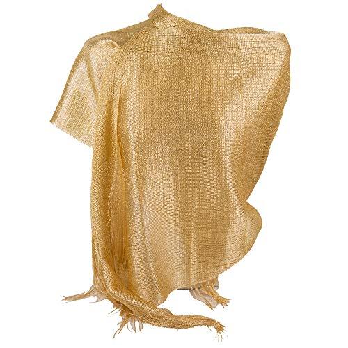 Emila stola oro cerimonia coprispalle elegante a rete con frange foulard scialle grande lurex da matrimonio per abito da sera giorno primavera estate 2019 estivo oro