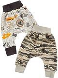 Baby Jungen Pump Baggy Mitwachs Stoff Hose 2er Set Camouflage Army Style 22782 Größe 104