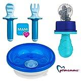 MAM Kindergeschirr - Set Boy blue colours//Warmhalteteller mit Lernbesteck MAM Dipper Set 6+ & Primamma Fruchtsauger blau