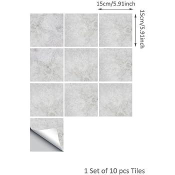 Yoillione Kitchen Backsplash Tile stickers Waterproof Tile Transfers Bathroom Tiles Self Adhesive Wall Tiles Stickers Geometric Decorative Square Peel and Stick Tile Wallpaper Black and White Tiles Decorative Accessories