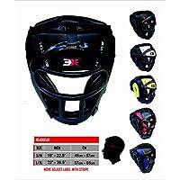 Protector de cabeza Bar parrilla casco de boxeo Muay Thai Kick Boxing MMA UFC Full fcae protección Head Gear formación, color negro, tamaño S