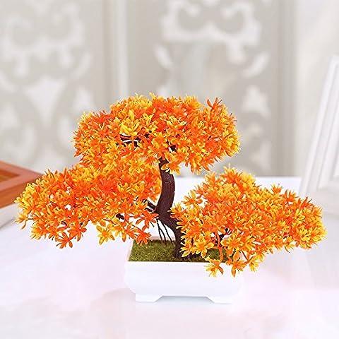 XIN HOME Simulation künstliche Blume Anzug Pflanzen Topfpflanzen Hotel Büro Wohnzimmer Ornamente Kunststoff Blume, Cloud Kiefer Sonnenuntergang rot
