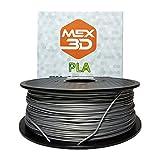 MEX3D PLA-Filament, 1,75 mm, Silber, 1 kg Spule/Rolle, Kunststoffmaterial für 3D-Drucker / 3D-Stift, Vakuumverpackt