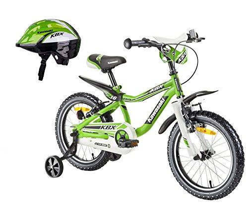 Kawasaki Kinderfahrrad BMX-Fahrrad Juroku 16 Zoll MX16 und Fahrradhelm Shikuro grün Gr. 50-52