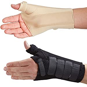 Actesso Wrist Thumb Support Brace with metal wrist and thumb Splint - Ideal for injuries to the thumb, Scaphoid fractures, Carpal Tunnel, and Sprains - Beige or Black