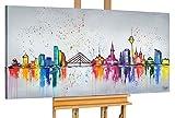 KunstLoft® Acryl Gemälde 'Düsseldorf Fever' 140x70cm | original handgemalte Leinwand Bilder XXL | Düsseldorf Deutschland Bunte Skyline | Wandbild Acrylbild moderne Kunst einteilig mit Rahmen