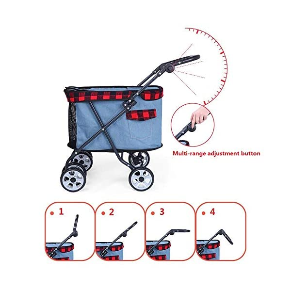 XYZK Travel Stroller Dog Cat Pushchair Pram Jogger Buggy With 4 Wheels XYZK **INCREASES QUALITY OF LIFE: No matter if your little friend had surgery, is injured, sick, scared, a puppy or a senior dog, this pram will give you the opportunity to take longer outings without having to worry about your beloved . **SAFE & COMFORTABLE: The soft and cozy mattress guarantees high comfort. The tear proof, durable netting provides perfect airflow, visibility and keeps insects out. **EASY ACCESS: Zippers make it possible to put your pet in the stroller from both sides, back and front. 3