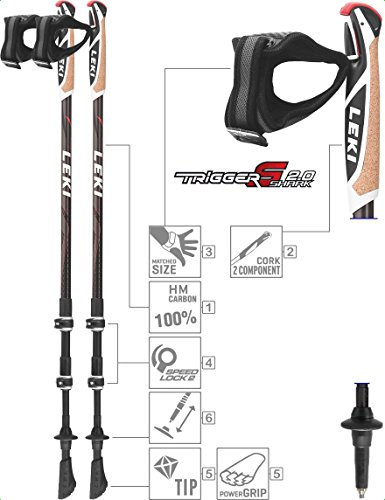 Leki Traveller Nordic walking stick anthracite/White/Red 90-130 cm
