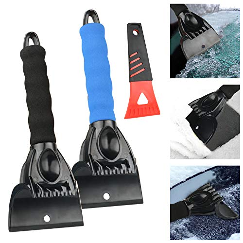 JTENG Eiskratzer Edelstahl Schneeschieber Schneeschieber Schneeschaufel TRP, Multifunktions-Schaber zum Entfernen des Eiskratzers(3PCS)
