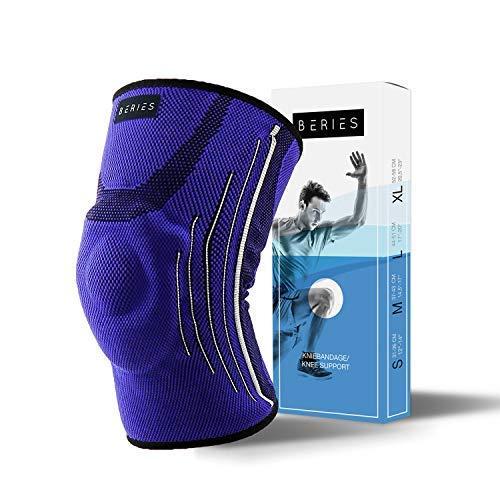 BERIES hochwertige Kniebandage - Sportbandage Damen und Herren - Hoher Komfort, Kompression, fixiert Kniescheibe, schützt das Knie, schmerzlindernd (Blau, S)