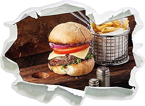 Cheeseburger avec des frites, du papier 3D sticker mural taille: 92x67 cm décoration murale 3D Stickers muraux Stickers