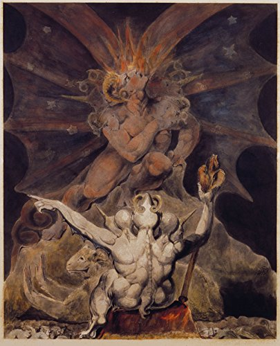 Spiffing Prints William Blake - The Number of The Beast is 666 - Large - Matte - Brown Frame