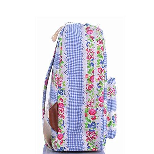OUFLY Print Blumenrucksack Leinwand Rucksack Cooler Rucksack Daypack Schul College Tasche Daypack für Frauen Damen Mädchen Blaue Plaid Rosa Blumen