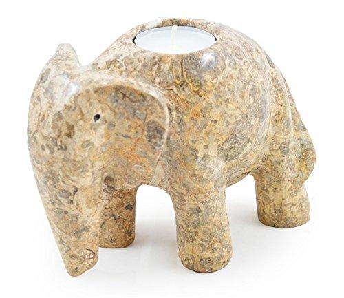 Elefante (6-Portavelas para vela de té, FossilStone