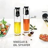 (Paquete de 2) Aceite de Vidrio Aceite de Vinagre Aceite Pulverizador para el refinamiento bien medido de ensaladas, antipasti o platos de carne