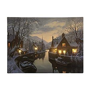 LED Bild Winterstadt am Fluß Weihnachten Leinwand Wandbild 28x38cm