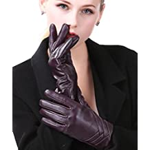 Harrms Guantes de Mujer de invierno Pantalla táctil de cuero genuino forrado en cachemira guantes de cuero de lana