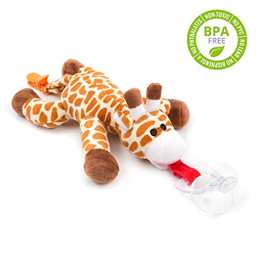 BabyHuggle Giraffe-Schmusetier Schnuller | Softes Kuscheltier an abnehmbarem Baby Silikon-Sauger mit Clip-Band & Quietsche-Ton. Beißring-Halterung