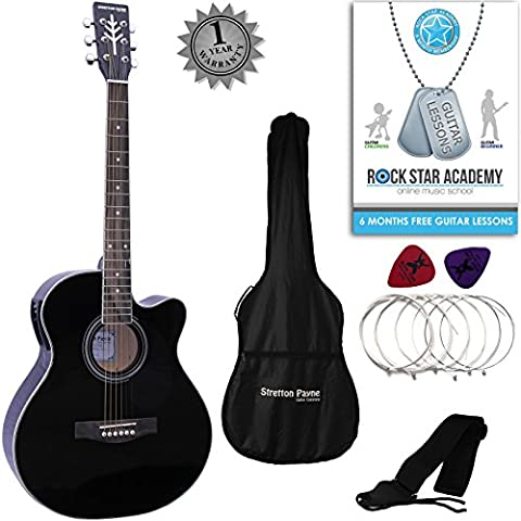 Stretton Payne Grand Auditorium Electro Acoustic Guitar PACKAGE Black