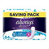 Always Discreet Incontinence Pads for Women, Long, Saving Pack 64 High Absorbency Pads