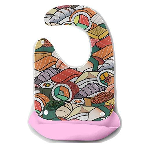 Enhusk Baby Rülpsen Lätzchen viele bunte Sushi-Rolle niedliche japanische abnehmbare Silikon Fütterung Schürze Maus Handtuch Baby Fütterung Dribbeln Sabbern Lätzchen Infant Kinderkrankheiten Lätzchen -