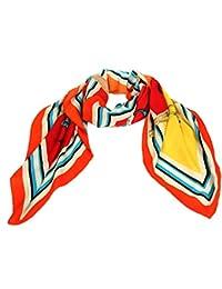 Calonice Amorino Damen Accessoire Orange Rand Schlauchschal Pferde Muster Halstuch Fabelhaftes Umhängetuch Eine Größe 140x0,1x130 cm (LxHxW) 29604