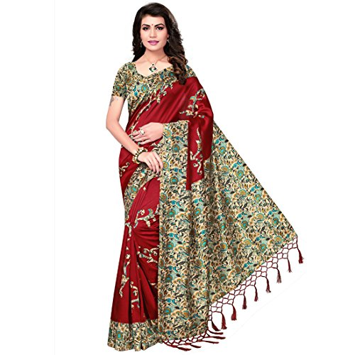 Hitesh Enterprise Mysore Art Silk Saree (Maroon_Free Size)