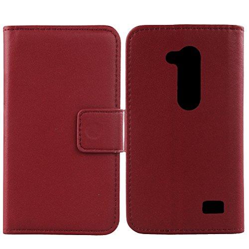 Gukas Design Echt Leder Tasche Für LG L Fino Dual D295 D290N Hülle Handy Flip Brieftasche mit Kartenfächer Schutz Protektiv Genuine Premium Case Cover Etui Skin (Dark Rot)