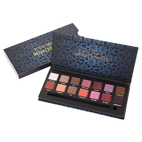 Moonuy 14 couleurs ombre à paupière métallisée Pearl Palette de Fard à Paupière Glitter Shimmer maquillage yeux palette de maquillage (B)