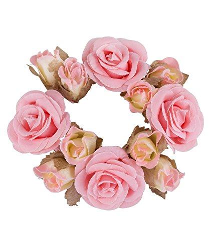 Haargummi Seide (SIX Haarschmuck, Bun Cuff Dutt Haargummi mit rosa Rosen Blumen aus Stoff (05-512))
