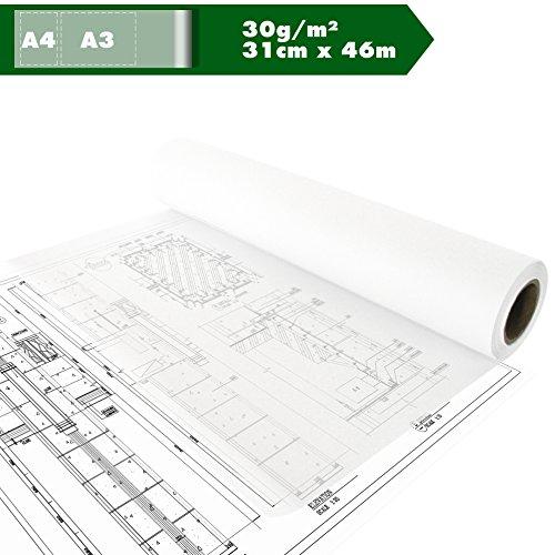 Skizzenrolle Skizzenpapier Transparentpapier Tracing paper Seidenpapier pauspapier A3 A4 30g/m²...