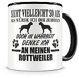 Samunshi® Ich denke an meinen Rottweiler Hunde Tasse Kaffeetasse Teetasse Kaffeepott Kaffeebecher Becher